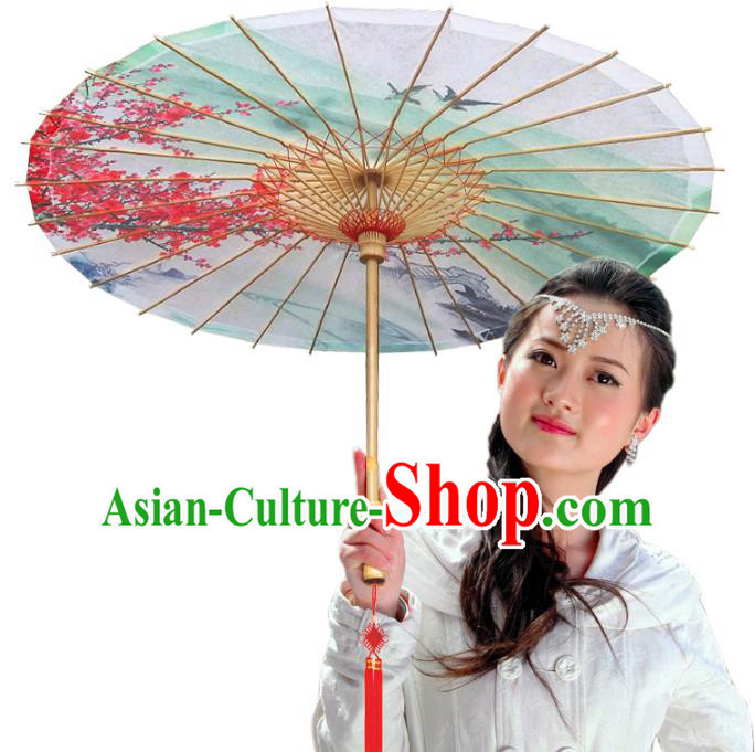China Traditional Dance Handmade Umbrella Printing Wintersweet Crane Red Oil-paper Umbrella Stage Performance Props Umbrellas