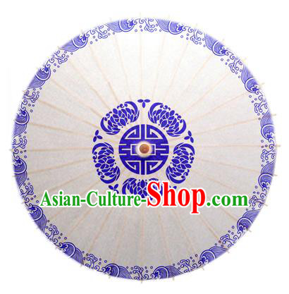 China Traditional Dance Handmade Umbrella Printing Lotus Oil-paper Umbrella Stage Performance Props Umbrellas