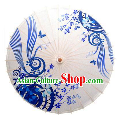 China Traditional Dance Handmade Umbrella Blue and White Porcelain Oil-paper Umbrella Stage Performance Props Umbrellas