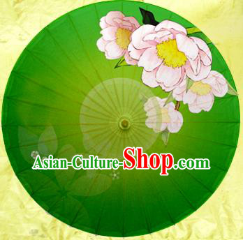 China Traditional Dance Handmade Umbrella Painting Flower Green Oil-paper Umbrella Stage Performance Props Umbrellas