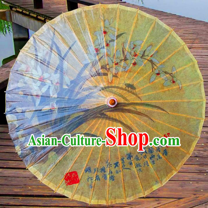 China Traditional Dance Handmade Umbrella Painting Orchid Yellow Oil-paper Umbrella Stage Performance Props Umbrellas