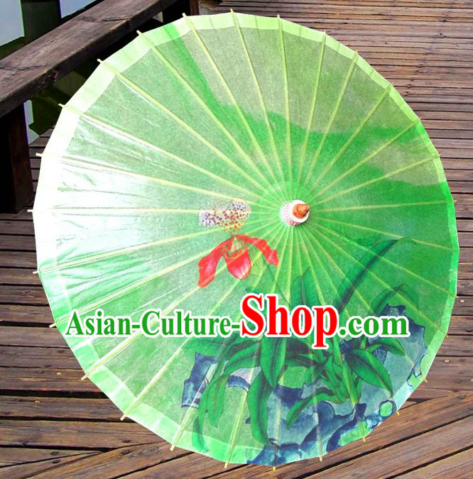 China Traditional Dance Handmade Umbrella Painting Phalaenopsis Green Oil-paper Umbrella Stage Performance Props Umbrellas