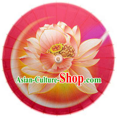 China Traditional Dance Handmade Umbrella Painting Lotus Red Oil-paper Umbrella Stage Performance Props Umbrellas
