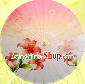 China Traditional Dance Handmade Umbrella Painting Lily Flower Oil-paper Umbrella Stage Performance Props Umbrellas