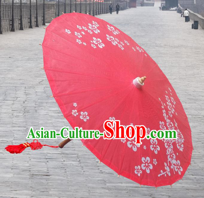 China Traditional Dance Handmade Umbrella Painting Flowers Red Oil-paper Umbrella Stage Performance Props Umbrellas
