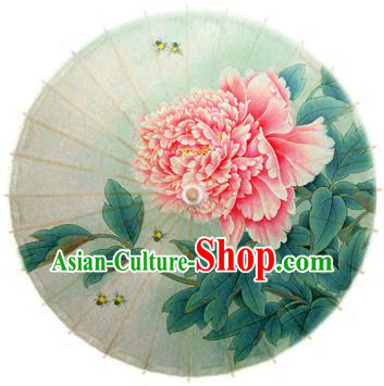 Handmade China Traditional Dance Printing Peony Umbrella Oil-paper Umbrella Stage Performance Props Umbrellas