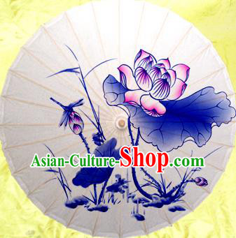 Handmade China Traditional Dance Painting Dragonfly Lotus Umbrella Oil-paper Umbrella Stage Performance Props Umbrellas
