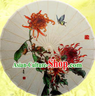 Handmade China Traditional Dance Painting Chrysanthemum Butterfly Umbrella Oil-paper Umbrella Stage Performance Props Umbrellas