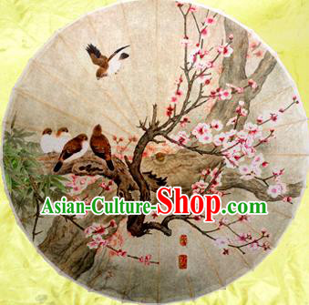 Handmade China Traditional Dance Painting Peach Blossom Birds Umbrella Oil-paper Umbrella Stage Performance Props Umbrellas