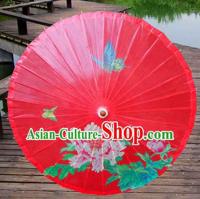 Handmade China Traditional Dance Painting Peony Wedding Red Umbrella Oil-paper Umbrella Stage Performance Props Umbrellas