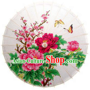 Handmade China Traditional Dance Painting Peach Blossom Peony Umbrella Oil-paper Umbrella Stage Performance Props Umbrellas