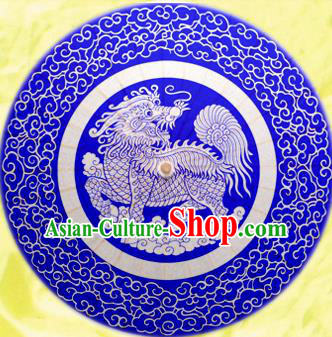 Handmade China Traditional Dance Painting Kylin Blue Umbrella Oil-paper Umbrella Stage Performance Props Umbrellas