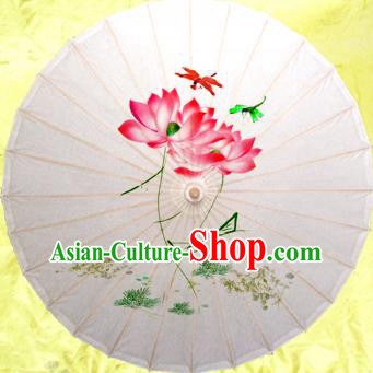 Handmade China Traditional Dance Painting Red Lotus Umbrella Oil-paper Umbrella Stage Performance Props Umbrellas