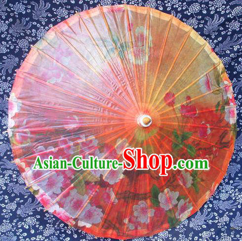 Handmade China Traditional Dance Ink Painting Wintersweet Orange Umbrella Oil-paper Umbrella Stage Performance Props Umbrellas