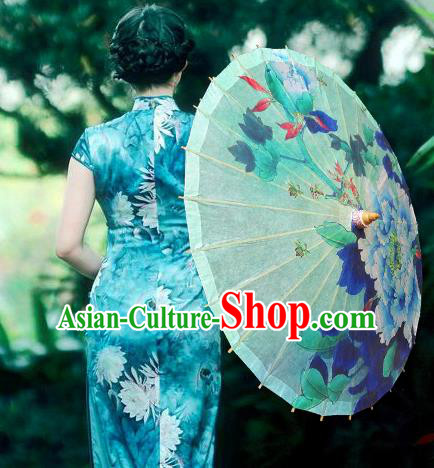 Handmade China Traditional Folk Dance Umbrella Painting Peony Green Oil-paper Umbrella Stage Performance Props Umbrellas