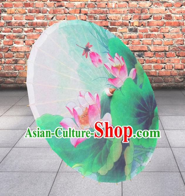 Handmade China Traditional Folk Dance Umbrella Painting Lotus Green Oil-paper Umbrella Stage Performance Props Umbrellas