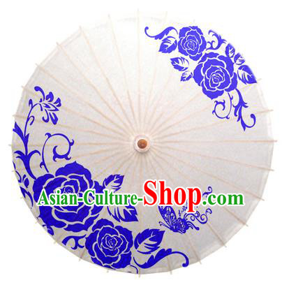 China Traditional Dance Handmade Umbrella Printing Rose Flower Classical Oil-paper Umbrella Stage Performance Props Umbrellas