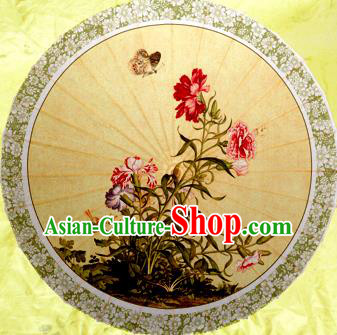 China Traditional Dance Handmade Umbrella Classical Printing Flowers Butterfly Oil-paper Umbrella Stage Performance Props Umbrellas