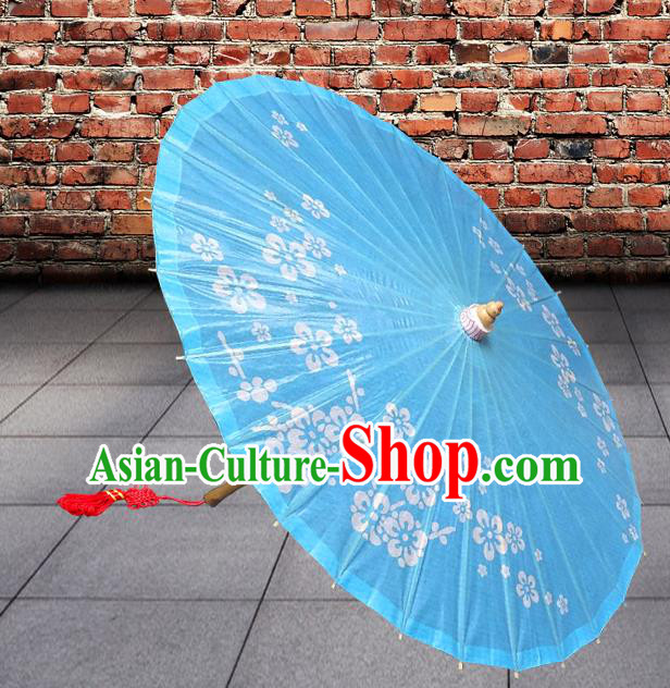 Handmade China Traditional Dance Umbrella Classical Printing Flowers Blue Oil-paper Umbrella Stage Performance Props Umbrellas