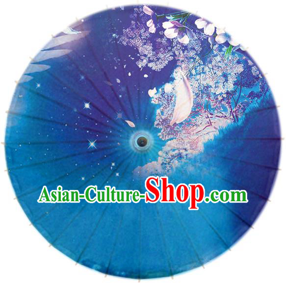 Handmade China Traditional Dance Umbrella Classical Printing Blue Oil-paper Umbrella Stage Performance Props Umbrellas
