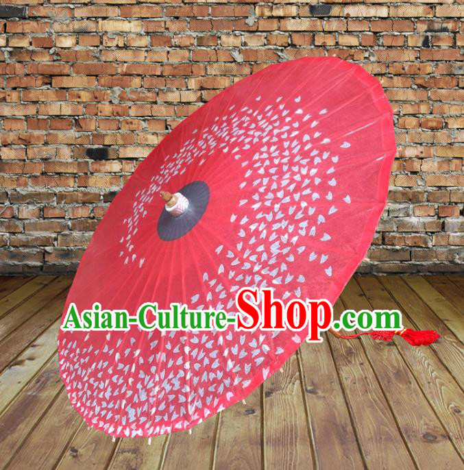 Handmade China Traditional Dance Umbrella Classical Printing Wedding Red Oil-paper Umbrella Stage Performance Props Umbrellas