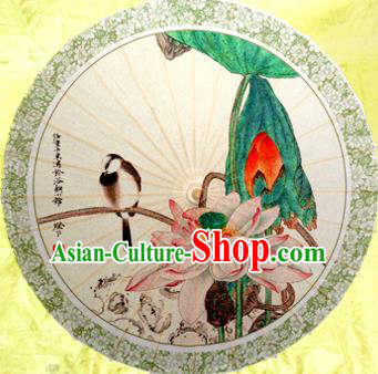 Handmade China Traditional Dance Umbrella Classical Printing Lotus Oil-paper Umbrella Stage Performance Props Umbrellas