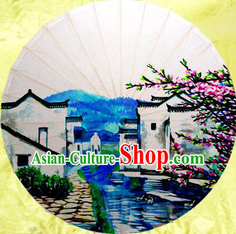 Handmade China Traditional Dance Umbrella Classical Painting Jiangnan Watertown Oil-paper Umbrella Stage Performance Props Umbrellas