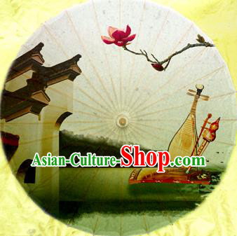 Handmade China Traditional Dance Umbrella Classical Painting Magnolia Oil-paper Umbrella Stage Performance Props Umbrellas