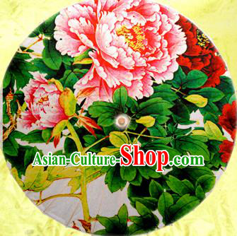 Handmade China Traditional Dance Umbrella Classical Painting Peony Flowers Oil-paper Umbrella Stage Performance Props Umbrellas
