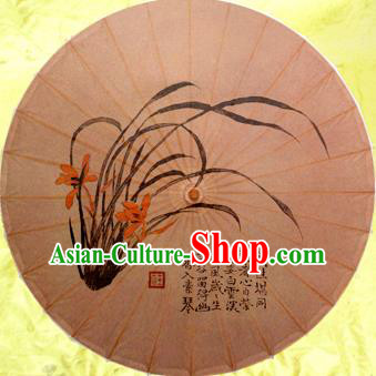 Handmade China Traditional Dance Umbrella Classical Painting Orchid Oil-paper Umbrella Stage Performance Props Umbrellas