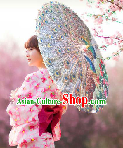 Handmade China Traditional Dance Wedding Umbrella Peacock Oil-paper Umbrella Stage Performance Props Umbrellas