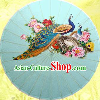 Handmade China Traditional Dance Wedding Umbrella Printing Peacock Blue Oil-paper Umbrella Stage Performance Props Umbrellas