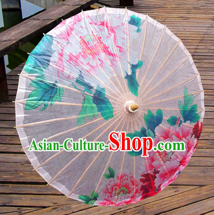 Handmade China Traditional Dance Wedding Umbrella Printing Peony White Oil-paper Umbrella Stage Performance Props Umbrellas