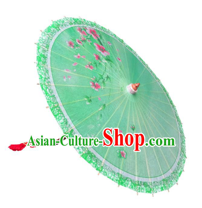 Handmade China Traditional Dance Wedding Umbrella Printing Flowers Green Oil-paper Umbrella Stage Performance Props Umbrellas