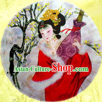 Handmade China Traditional Dance Wedding Umbrella Printing Beauty Wang Zhaojun Oil-paper Umbrella Stage Performance Props Umbrellas