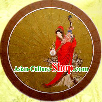 Handmade China Traditional Dance Wedding Umbrella Printing Wang Zhaojun Lute Oil-paper Umbrella Stage Performance Props Umbrellas