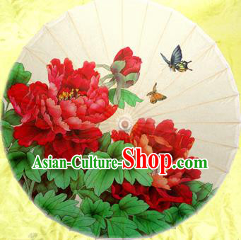 Handmade China Traditional Dance Wedding Umbrella Red Peony Oil-paper Umbrella Stage Performance Props Umbrellas