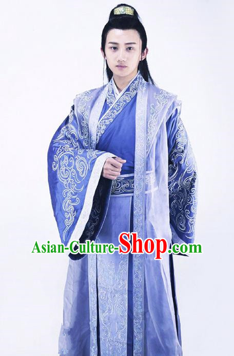 Traditional Chinese Ancient Han Dynasty Royal Prince Embroidered Costume for Men