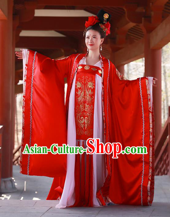 Traditional Chinese Ancient Tang Dynasty Royal Princess Wedding Embroidered Costume for Women