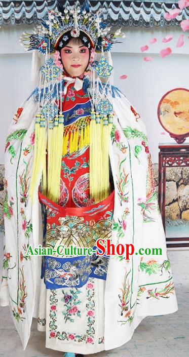 Chinese Beijing Opera Diva Costume White Embroidered Cloak, China Peking Opera Actress Embroidery Mantle Clothing