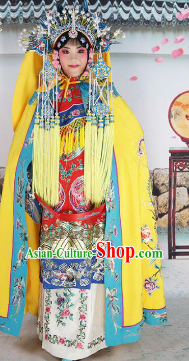 Chinese Beijing Opera Empress Costume Yellow Embroidered Cloak, China Peking Opera Actress Embroidery Mantle Clothing