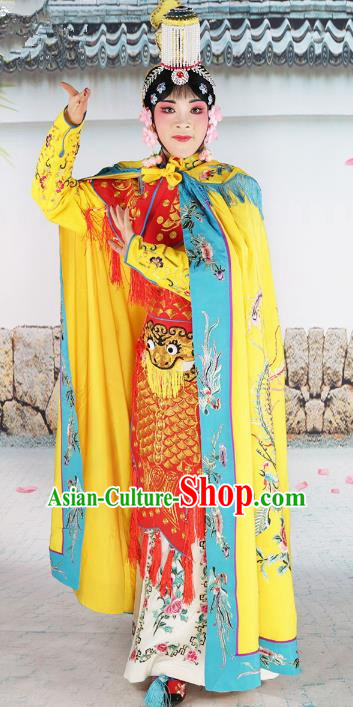 Chinese Beijing Opera Female Soldier Embroidered Costume, China Peking Opera Blues Embroidery Clothing