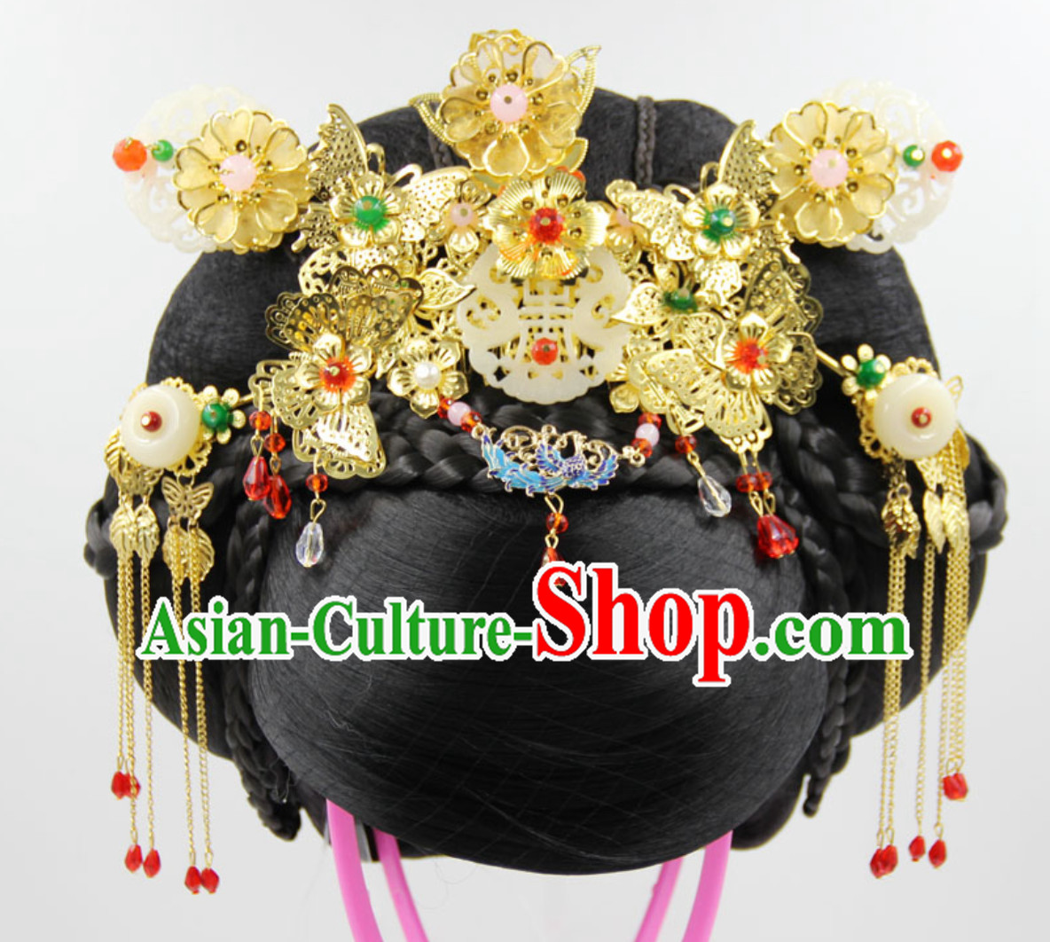 Handmade Chinese Ancient Style Empress Black Wig and Hair Jewelry Set