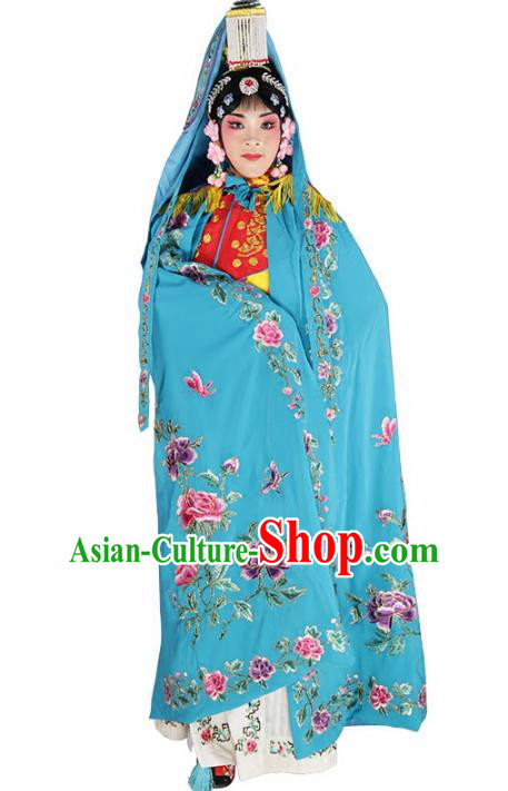 Chinese Beijing Opera Diva Imperial Empress Costume Embroidered Blue Cloak, China Peking Opera Actress Embroidery Mantle Clothing