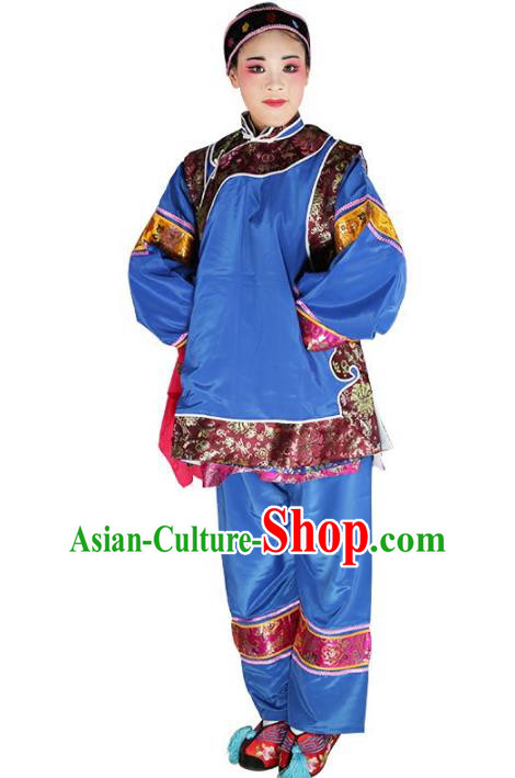 Chinese Beijing Opera Landlord Shiva Embroidered Blue Costume, China Peking Opera Pantaloon Embroidery Clothing