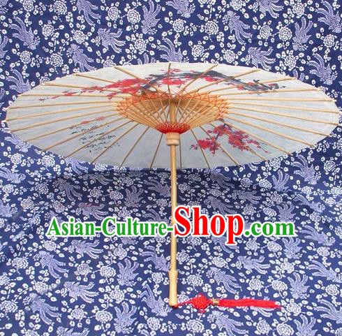 Handmade China Traditional Folk Dance Umbrella Painting Plum Blossom Oil-paper Umbrella Stage Performance Props Umbrellas