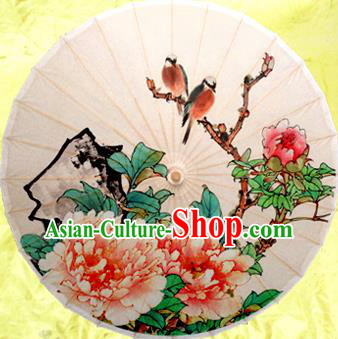 Handmade China Traditional Folk Dance Umbrella Painting Peony Birds Oil-paper Umbrella Stage Performance Props Umbrellas