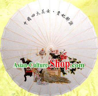 Handmade China Traditional Folk Dance Umbrella Painting Drunkened Concubine Oil-paper Umbrella Stage Performance Props Umbrellas
