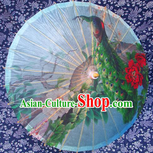Handmade China Traditional Folk Dance Umbrella Painting Peacock Peony Oil-paper Umbrella Stage Performance Props Umbrellas