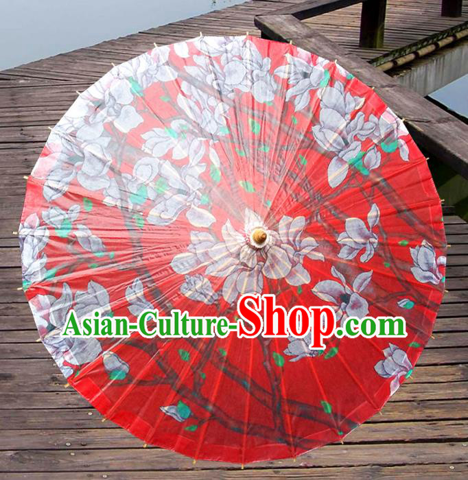 Handmade China Traditional Folk Dance Umbrella Painting Magnolia Red Oil-paper Umbrella Stage Performance Props Umbrellas